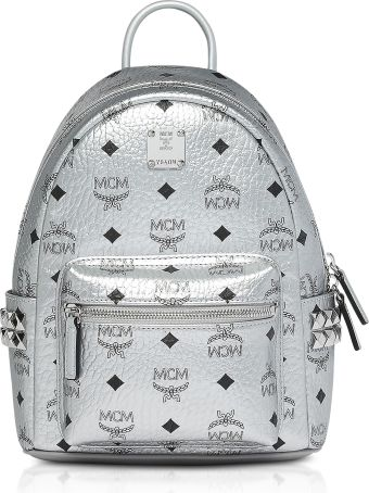 MCM Berlin Silver Side Studs Visetos Stark Backpack 27