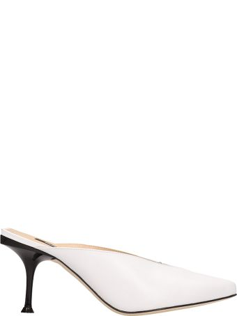 Sergio Rossi White Leather Open Decollete Sandals