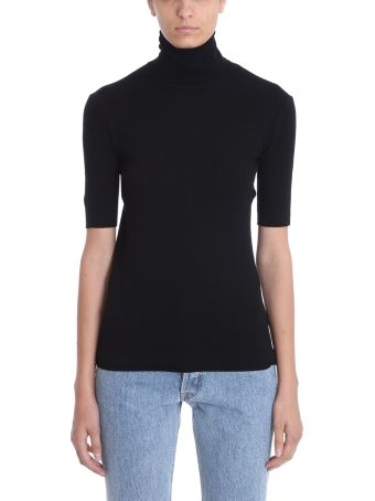 Helmut Lang Turtle Neck Black Wool Sweater