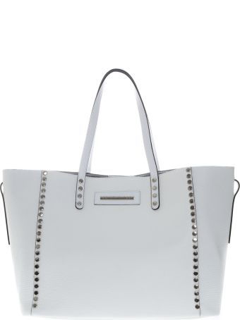 Marc Ellis Seraya Shoulder Bag In White Hammered Leather