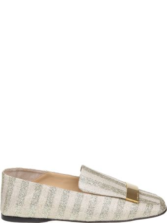 Sergio Rossi Slippers In Laminate Striped Fabric Platinum Color