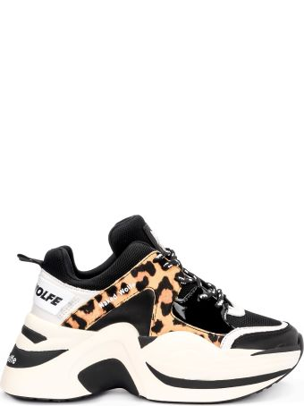 Naked Wolfe Track Black Leather Sneaker With Leopard Cow Hair