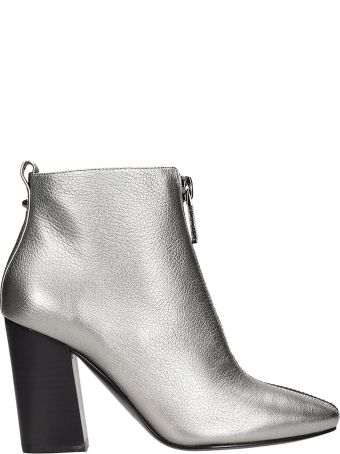 Kendall + Kylie Silver Leather Ankle Boots