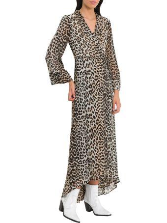 Ganni Mullin Leopard Print Wrap Dress