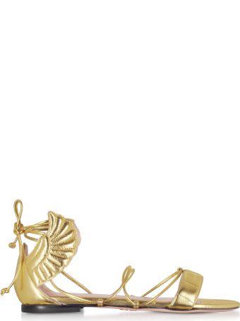 Oscar Tiye Gold Malikah Flat Sandals
