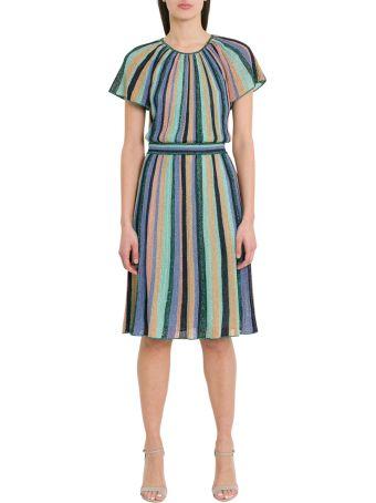 M Missoni Lurex Knit Midi Dress With Multicoloured Stripes Motif