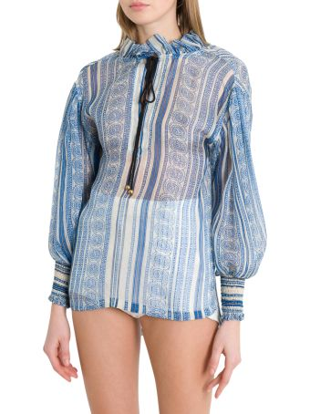 Philosophy di Lorenzo Serafini Balloon Slevees Blouse With Rouches And Paisley Motif