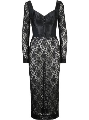 Dolce & Gabbana Lace Fitted Midi Dress