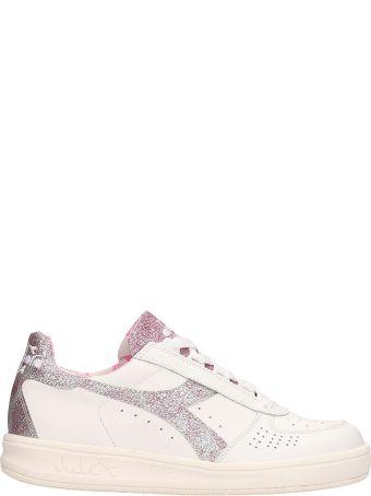 Diadora Paisley White Pink Leather Sneakers