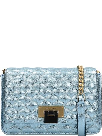 Visone Light Blue Glitter Quilted Leather Bag