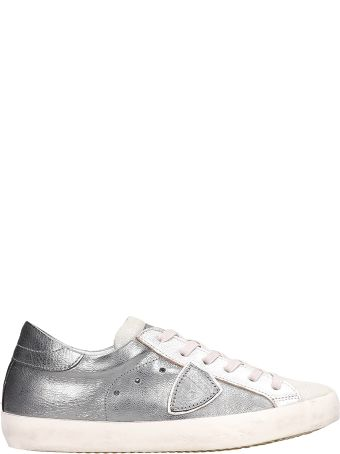 Philippe Model Paris Mixage Metal Grey Leather Sneakers