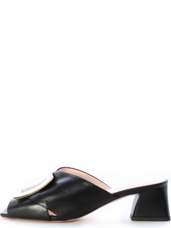 Roger Vivier Mule Tres Vivier Black Leather