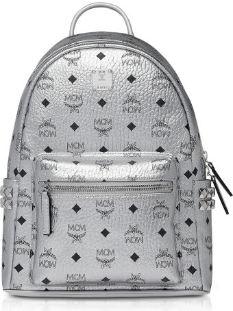 MCM Berlin Silver Side Studs Visetos Stark Backpack 32