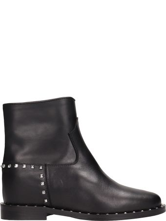 Via Roma 15 Studs Black Leather Ankle Boots