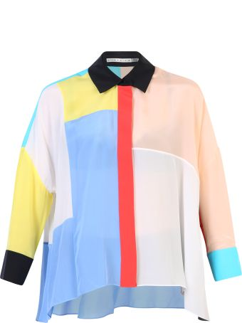 Alice + Olivia Color-block Silk Shirt