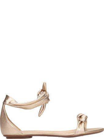 Schutz Gold Leather Flats Sandals