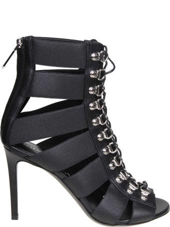 Balmain Sandal Lindsay In Stretch Fabric Color Black