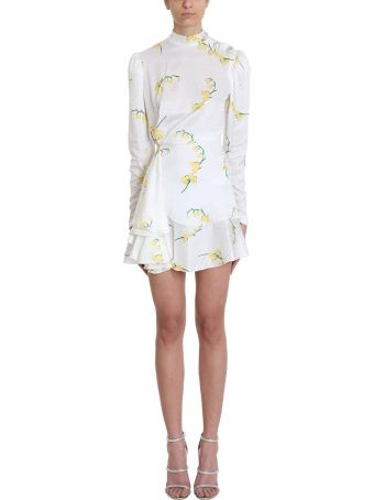 Alessandra Rich Floral Print White Silk Dress