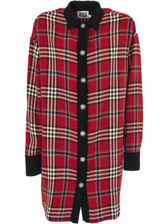 Fausto Puglisi Tartan Cotton And Wool Long Coat.