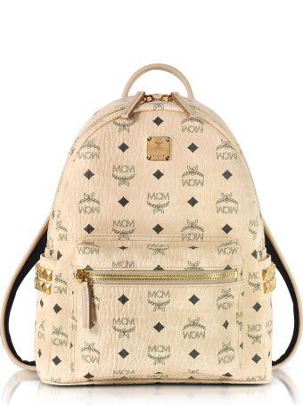 MCM Beige Small Stark Backpack