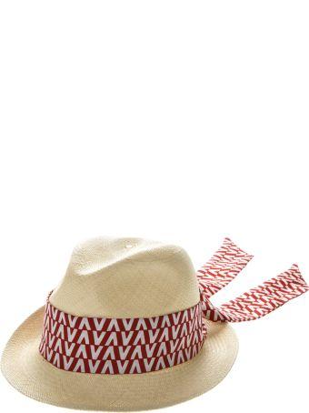 Valentino Garavani Straw Contrasting Logo Silk Scarf Hat