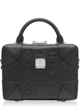 MCM Black Monogram Leather Soft Berlin Crossbody Bag