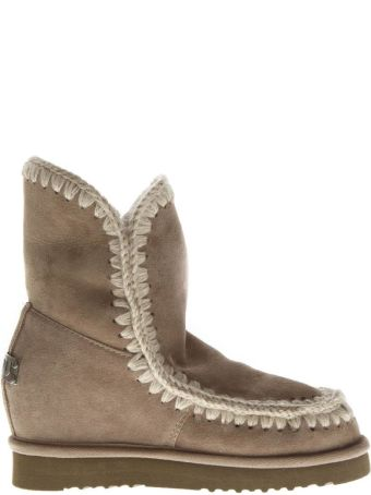 Mou Eskimo Taupe Wool & Leather Boots