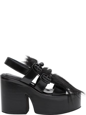 Simone Rocha Platfrom Sandals With Fur Insert And Buckles