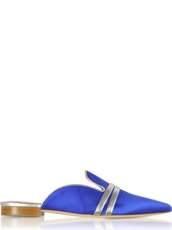 Malone Souliers Hermione Blue Satin And Metallic Nappa Mules
