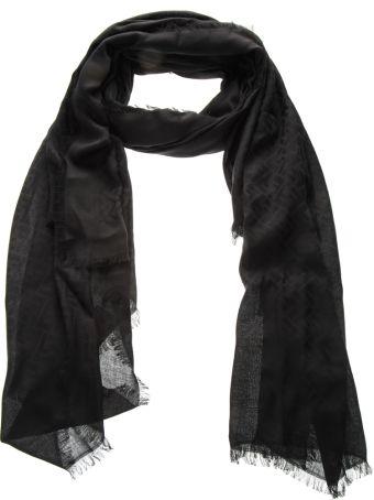 Fendi Black Modal Logo Scarf