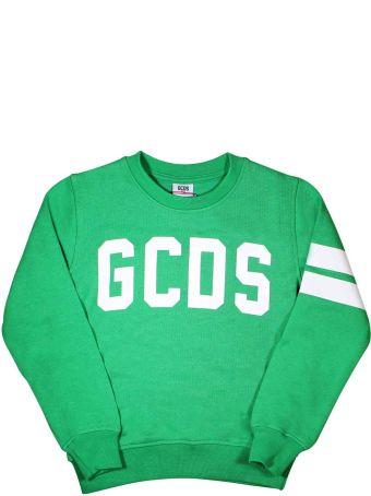 GCDS Mini Green Sweatshirt With White Logo