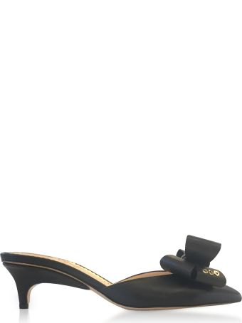 Charlotte Olympia Black Leather Kitten Heel Bow Mules