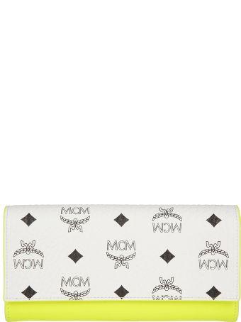 MCM Logo Print Continental Wallet