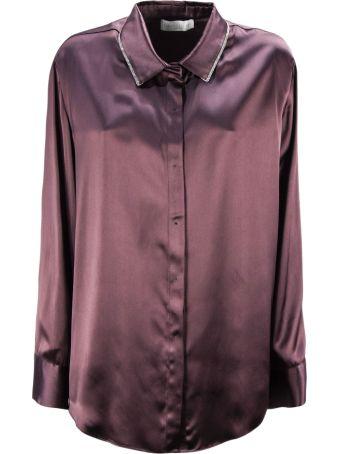 Fabiana Filippi Plum-tone Viscose Satin Fabric Shirt