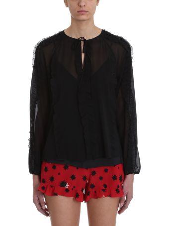 RED Valentino Black Silk Chiffon Blouse
