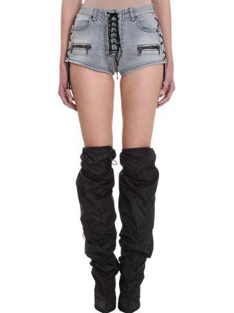 Ben Taverniti Unravel Project Lace Up Stone Wash Black Shorts