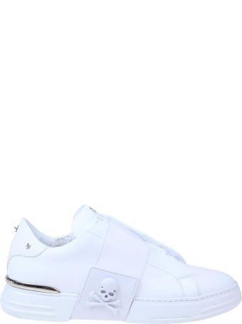 Philipp Plein Slip On Phantom Kick In White Leather