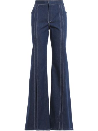 Chloé Contrast-stitched Flared Leg Trousers