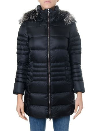 Colmar Black Nylon Hooded Down Jacket With Real Fur