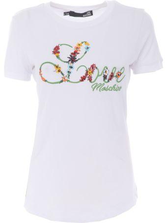 Love Moschino Embroidered Logo T-shirt
