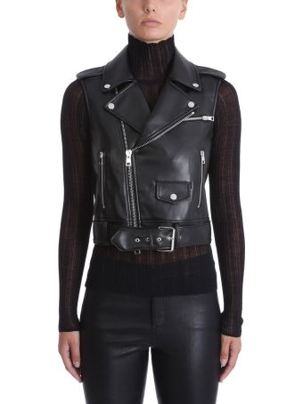 Theory Moto Vest Black Faux Leather Jackets
