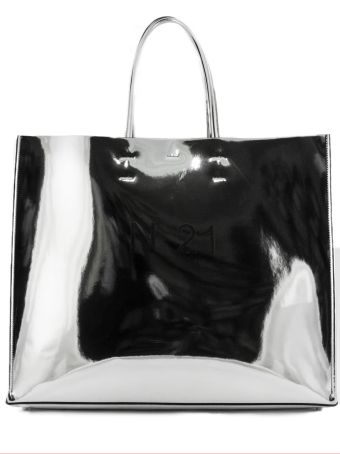 N.21 Laminated Silver-tone Shopper Bag