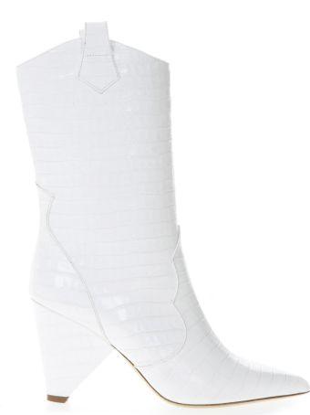 Aldo Castagna Boot In White Cocodrile Effect Leather