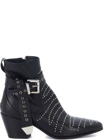 Mexicana Black Leather Texan Ankle Boots With Studs And Ankle Strap