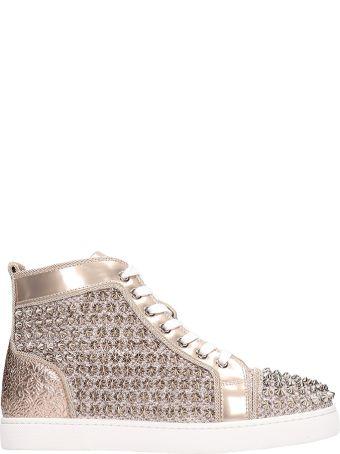 Christian Louboutin Louis Orlato Spikes Bronze Leather Sneakers