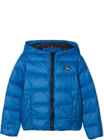 Fay Blue Teen Jacket With Hood And Frontal Logo Application