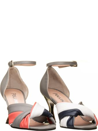 Pollini Pollini  Grey And Coral Sandals