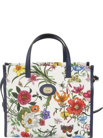 Gucci Floral Print Detail Square Tote