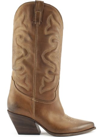 Strategia Brown Leather Texan Boots