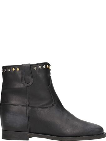 Via Roma 15 Black Leather Wedge Ankle Boots